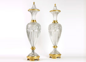 Pair-of-Monumental-Crystal-and-Gilt-Bronze-Covered-Vases-by-Baccarat